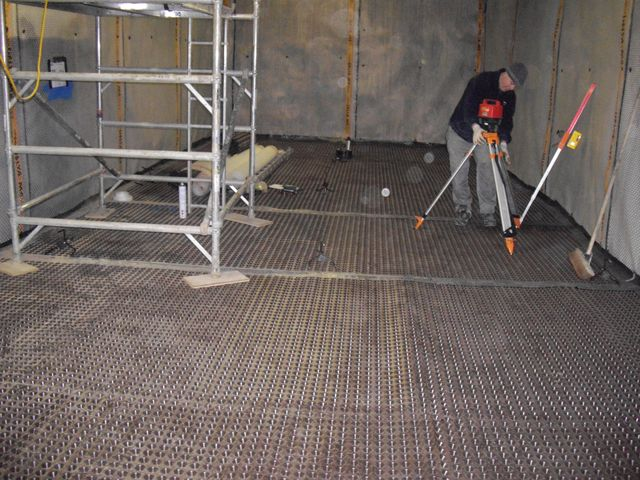 Thermotech Screed London setting out procedure prior to installation of structural screed